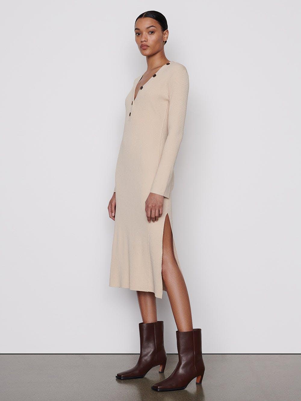 Long Rib Dress -- Vanilla